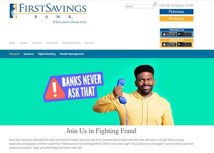 Screengrab FirstSavings Bank website with Banks Never Ask That messaging