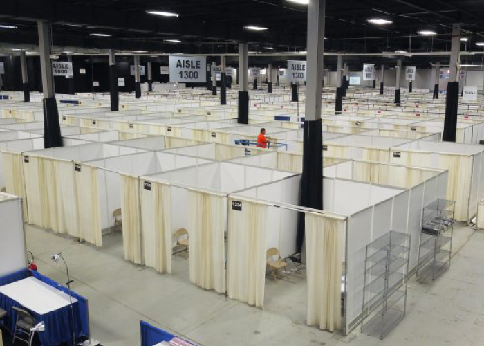 The Edison Convention and Exposition Center is turned into a 500-bed field hospital