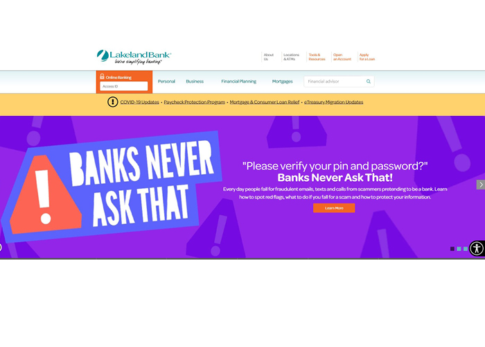 Capture of Lakeland Bank's website with Banks Never Ask That content
