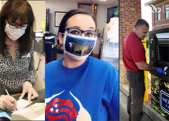 Collage of 3 bankers using protective measures to keep customers safe